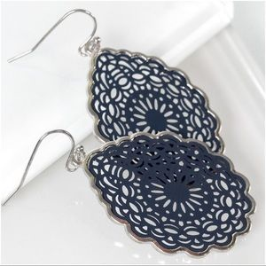 Jewelry - Navy Mandala Teardrop Earrings